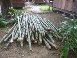 Sawali fence - bamboo cut from areas around site