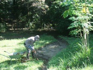 Landscaping. Sir Raymond collecting soil for chakras.